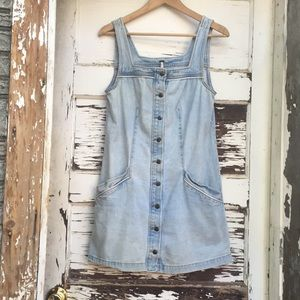 Free People Blue Jean Button Dress Small